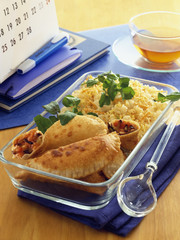 Vegetable pies with rice