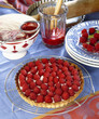 Raspberry shortbread tart with raspberry coulis