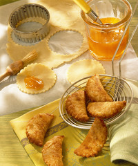 pastry biscuits filled with apricot jam