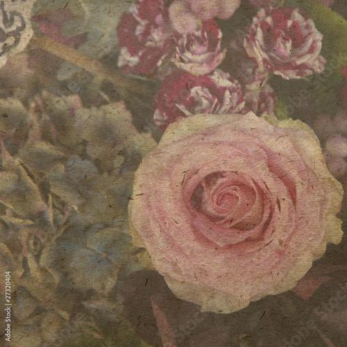 vintage wallpaper background with rose © elenarostunova
