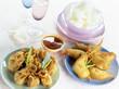 Shrimp fritters ,raviolis and crisps