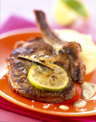 Veal chop with lemon and licorice