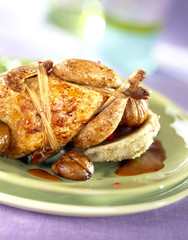 Free-range quail with artichokes and chestnuts