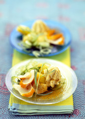 Warm potato and haddock salad,whipped curry cream