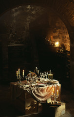 Table setting in a cellar
