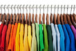 canvas print picture - Rainbow colors, clothes on wooden hangers