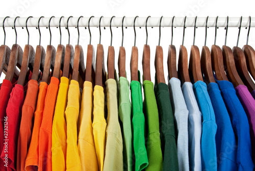 canvas print picture Rainbow colors, clothes on wooden hangers