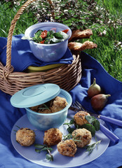 Veal meatballs with rice,picnic