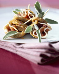 cone-shaped small veal escalopes with sage and parma ham