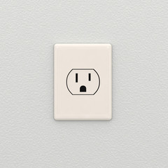 Electrical outlet over white wall
