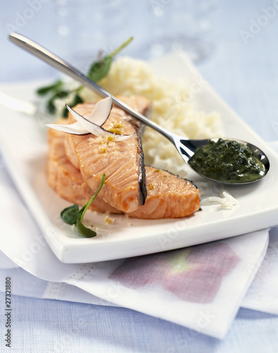 Steamed salmon with watercress coulis