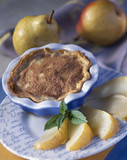 Pear baked egg custard tart