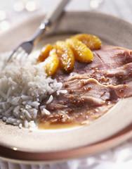 Braised gammon with orange and rice