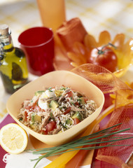 Tuna rice salad with tomato and avocado
