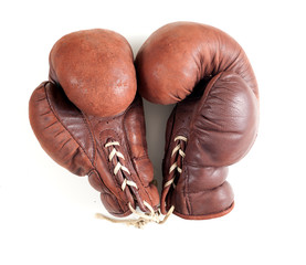 old leather brown boxing gloves