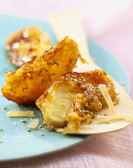 Apple,toffee,sesamme and crystallized ginger fritters