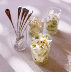 Raw vegetables with almonds
