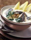 bass and creamed chicory  nage broth