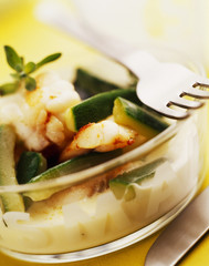monkfish and courgette fricassee with white butter marjoram sauce