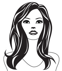 Abstract woman black and white portrait