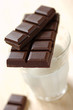 bar of plain chocolate and glass of milk
