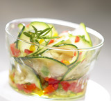Courgette and red pepper salad with olive oil dressing