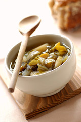 cabbage, leek and chickpea soup