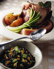 knuckle of pork and lentil stew
