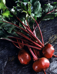 bunch of red beetroot