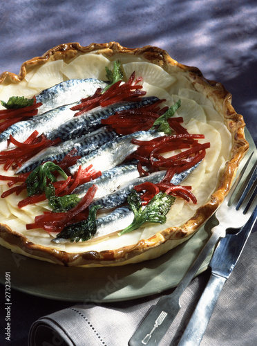 Mackerel and beetroot tart