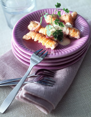 Langoustines with chervil cream sauce
