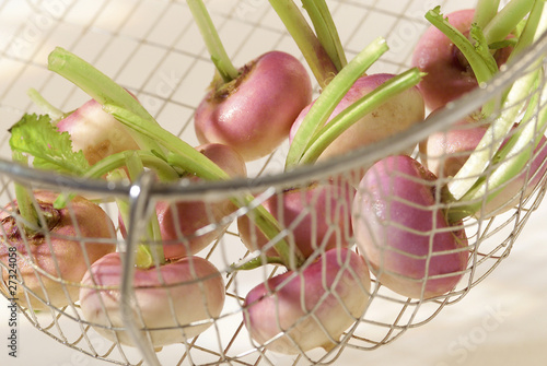 baby turnips in steam basket