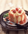Rice timbale with raspberry coulis