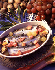 Mackerel fillets with grapes,rhubarb and cockels