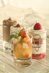 Mini desserts in glass pots