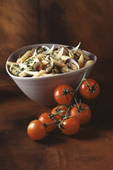 Penne with chicken stock and carpet-shell-clams