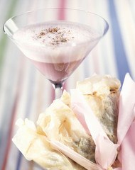 Pink cocktail and spinach filo pastry pies