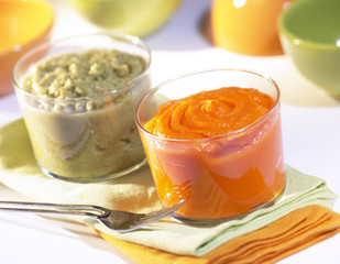carrot and string bean purees