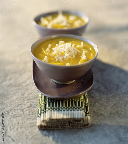 creamed pumpkin soup with fried rice