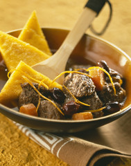 Beef and carrot stew with polenta