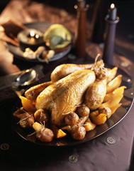Turkey with chestnuts and peaches