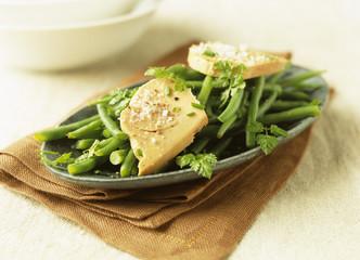 Green bean and foie gras salad