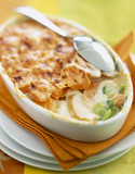 Chicken,carrot and leek gratin