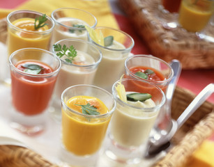 Verrines of sauces and vegetable juices
