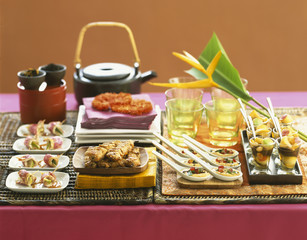 Selection of exotic appetizers