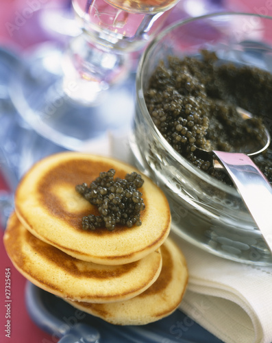 Caviar on blinis