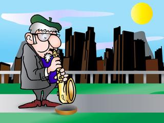 beggar saxophonist