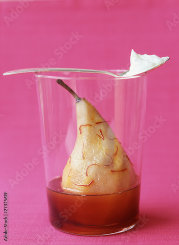 poached pear with saffron