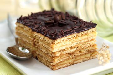 Praline-flavored and chocolate sponge cake