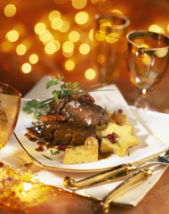 jugged boar with cranberry sauce and polenta